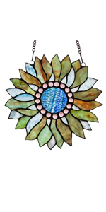 stained glass window hanging, stained glass window panels, sunflower
