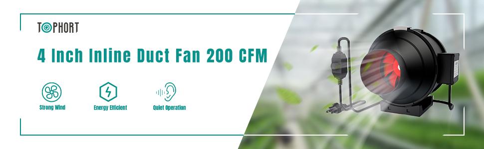 190 CFM 4 Inch Inline Duct Blower HVAC Fan