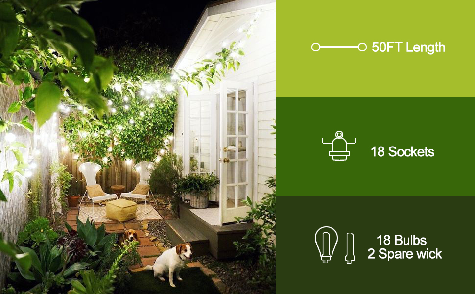 led outdoor string lights patio bulb hanging lighting backyard deck garden outside porch bistro