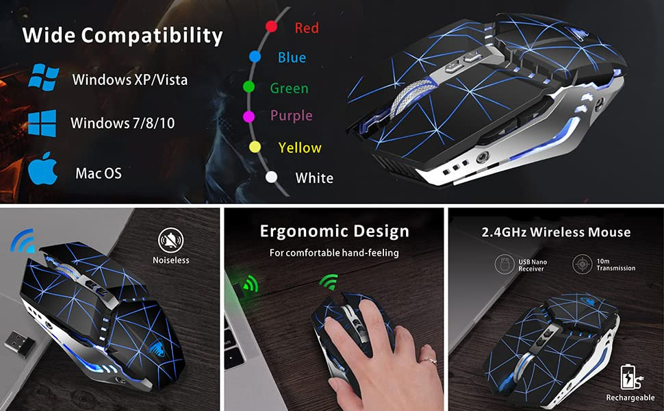 led rechargeable gaming mouse