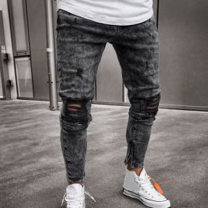 Amazon Com Pantalones Vaqueros De Rayas Laterales Para Hombre Adolescentes Y Jovenes Pantalones Vaqueros Delgados Desgastados Y Delgados Elasticos Con Agujeros Desgarrados Clothing