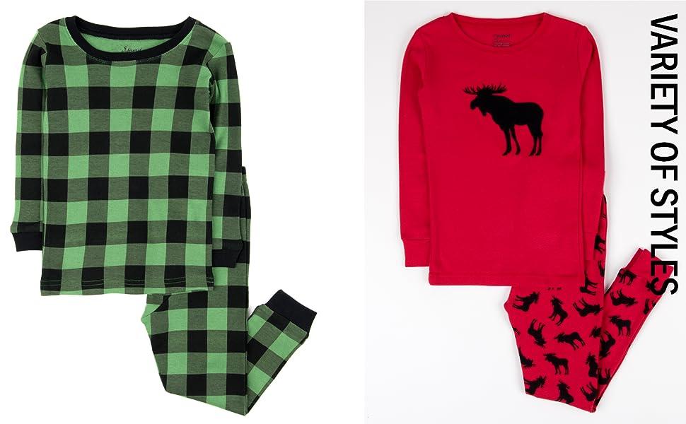 leveret, baby plaid pajamas, baby christmas pajamas,