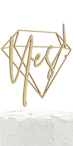 gold yes! geometric cake topper
