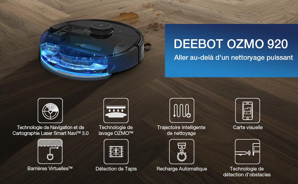 ECOVACS OZMO920 Robot Aspirateur Laveur, 2 en 1 avec Technologie Laser Smart Navi 3.0, Nettoyage Personnalisé, Cartographie multi étages, Barrières