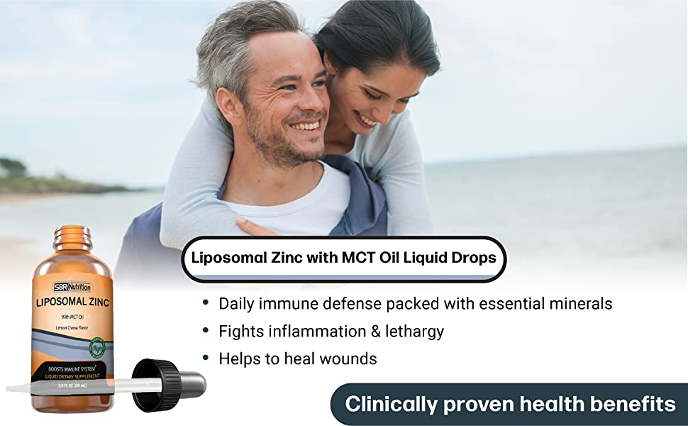 Liposomal Zinc with MCT Oil Liquid Drops. Fights inflammation & lethargy. Helps to heal wounds.