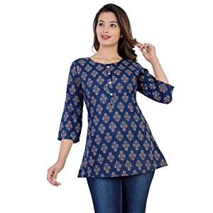 SIDDHANAM Blue Printed 100% Pure Cotton top