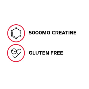 Features 5000mg creatine in a gluten-free formula.