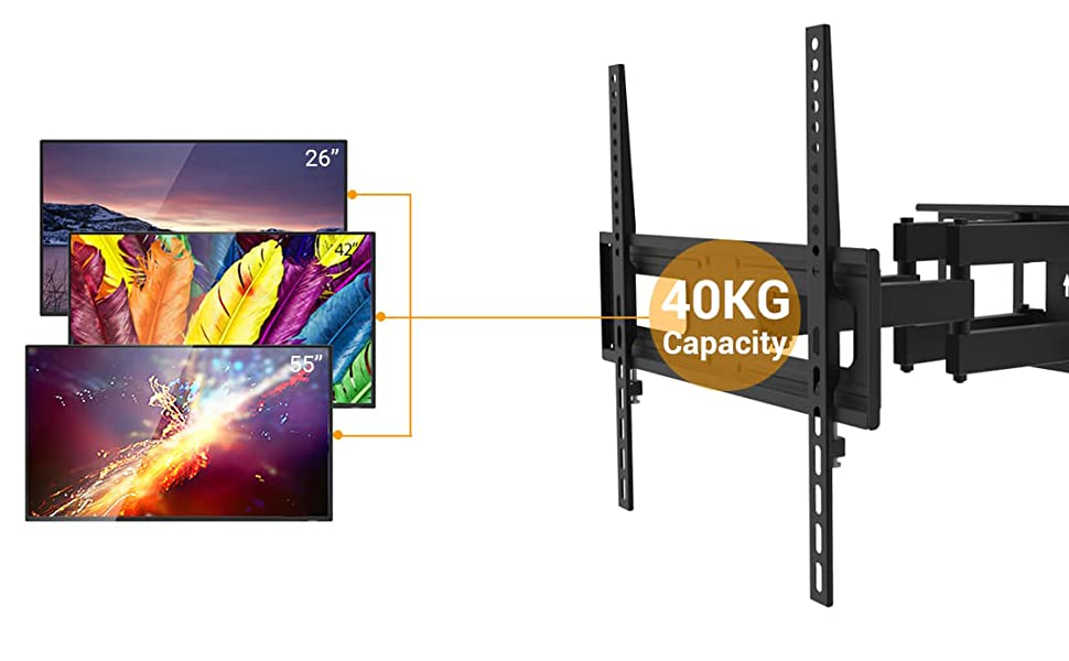 Tv Wall Mount Bracket For 26 55 Inch Led Lcd Curved Flat Panel Tvs Up To Vesa 400x400 And 88 Lbs Full Adjustable Articulating Tv Arm Fits 12 16 Wall Wood