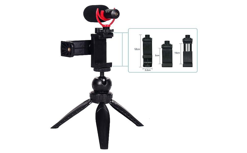 Microphone with Shock Mount,Smartphone Video Kit ,Shotgun Video Microphone,