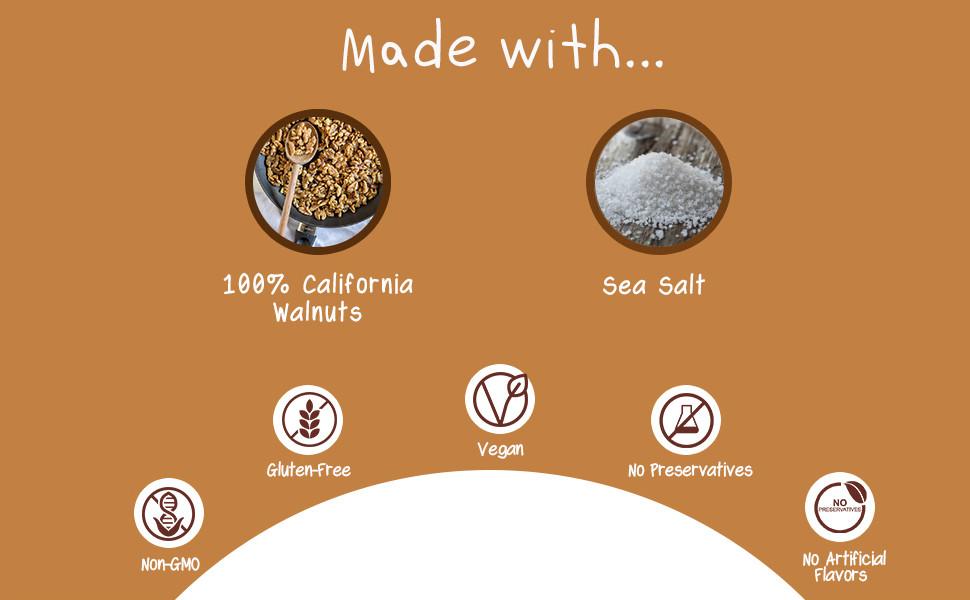 non-gmo gluten free vegan plain walnut butter sea salt no preservatives artificial flavors organic