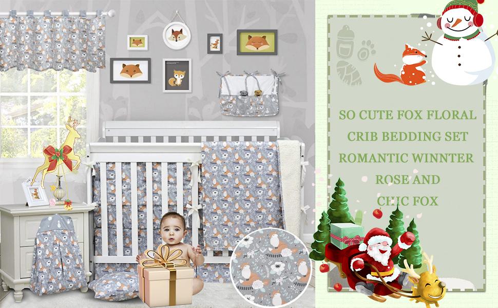 christmas baby crib nursery bedding grey fox floral nursery bedding baby shower gift
