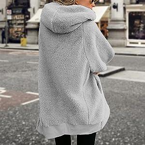 Oversized Full Zip Up Sherpa Hoodie Fleece Jacket with Pockets
