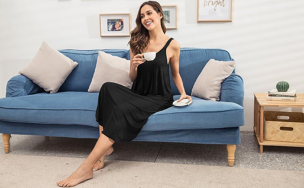 women sleeveless long nightgown