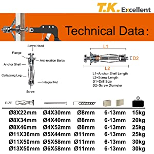 68 Pieces zhejiang excellent industries CO LTD K T Excellent Hollow Wall Anchor Multiple Sizes Assortment Kit