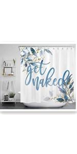 ECOTOB Botanical Leaves Get Naked Shower Curtain Decor