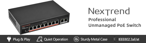 8 Port PoE Switch - With Built In Power Adapter