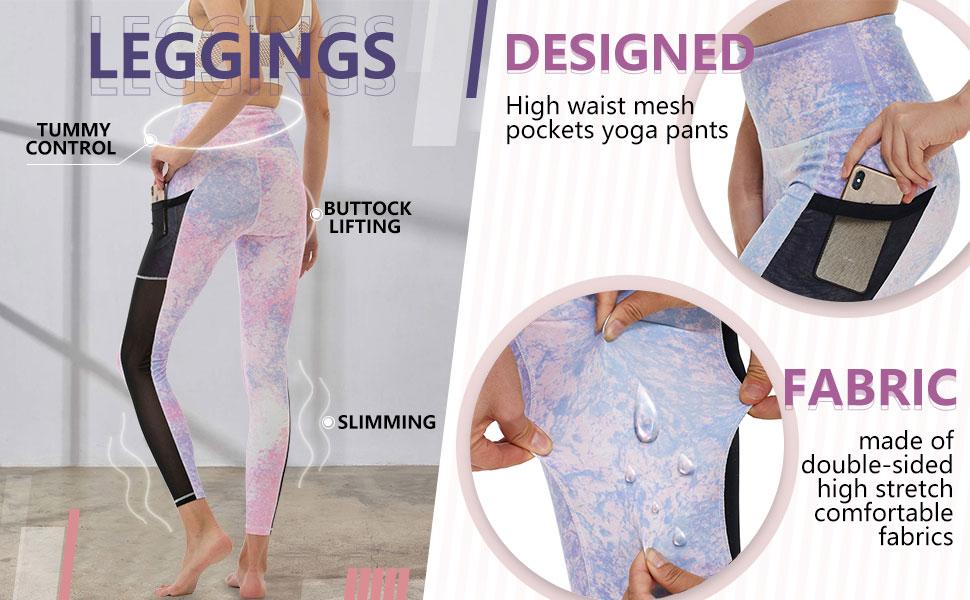 women yoga pants tie dye mesh dual pockets high waist leggings