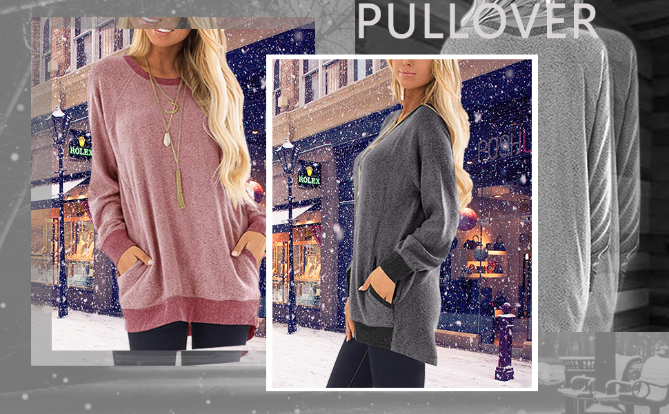 SEBOWEL Camicia Donna Elegante Manica Lunga Blocchi di Colore Felpa Maglietta Casual Patchwork Sweatshirt Tunica Taglie Forti