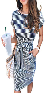 ECHOINE Women's Summer Striped Dresses