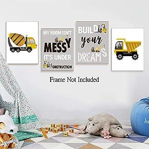 Kids Personalised Vehicle Alphabet Gift Print Poster Frame Wall Art Boys Girls