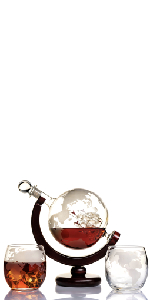globe decanter with 2 glasses