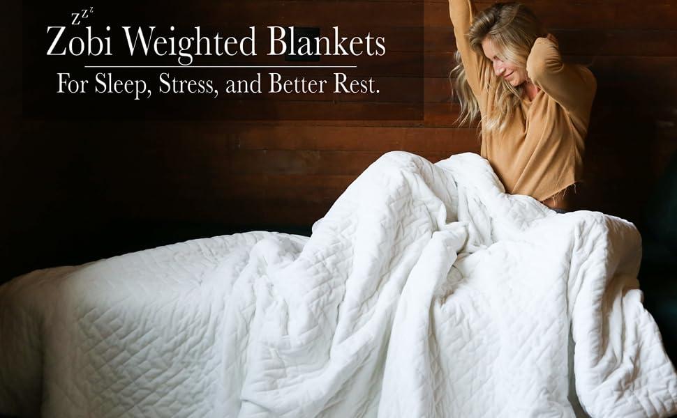 Zobi Weighted Blankets | King Queen Twin Throw 10LBS 15LBS 20LBS 25LBS