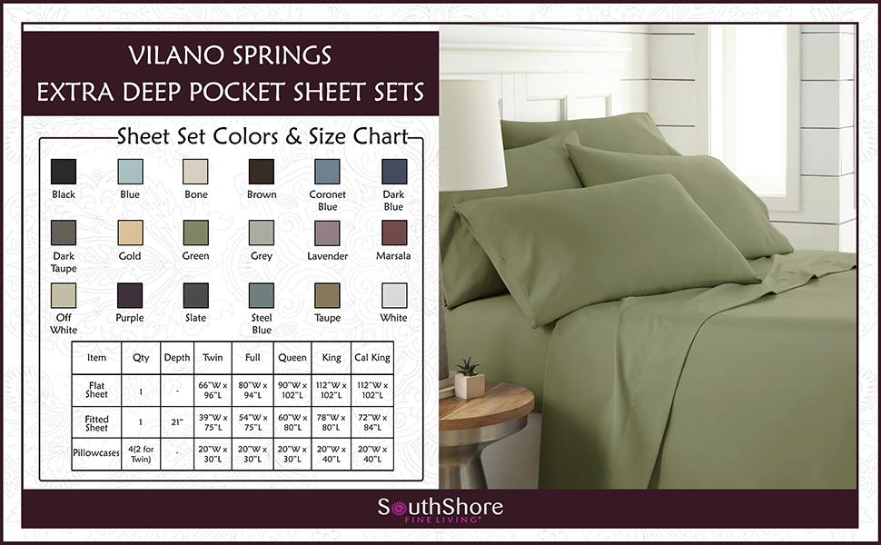 Green Vilano Springs Extra Deep Pocket Sheet Set Color and Size Chart
