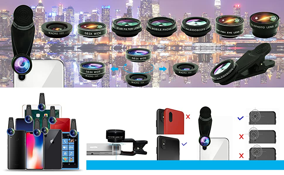 Cell Phone Camera Lens Kit,11 in 1 Universal 20x Zoom Telephoto Lens