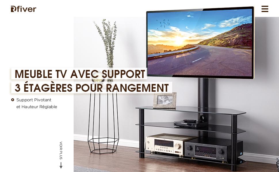 rfiver meuble tv avec support pivotant