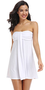 Off Shoulder Womens Swimsuit Cover Up Summer Mini Dress