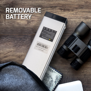 Key-secured battery can be swapped out with an extra battery
