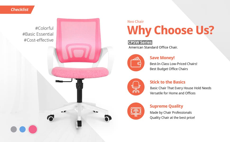 Office chair - NEO CHAIR Office Chair Computer Desk Chair Gaming - Ergonomic Mid Back Cushion Lumbar Support With Wheels Comfortable Blue Mesh Racing Seat Adjustable Swivel Rolling Home Executive, Pink