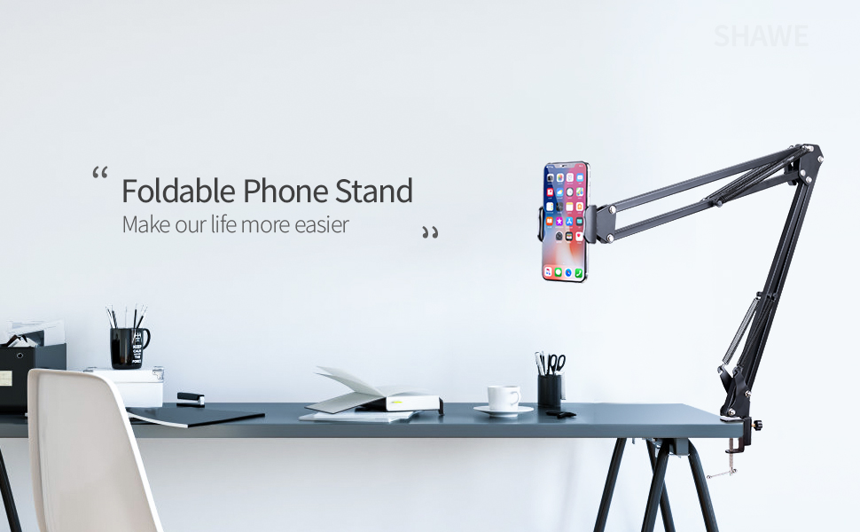 Cell Phone Holder Phone Clip Holder for Desk for 3.5-6.5in Phone Mobile Stand for Bed Office Kitchen