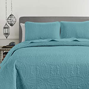 "Chezmoi Collection 3 Piece 118 By 106/"" Austin Oversized Bedspread Coverlet Set,"