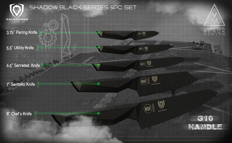 dalstrong chef knife shadow black series titanium german steel block set santoku paring utility