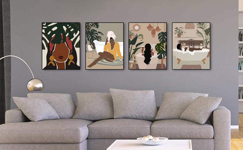 Modern Minimalist Fashion Black Woman Leaf Wall Art Painting