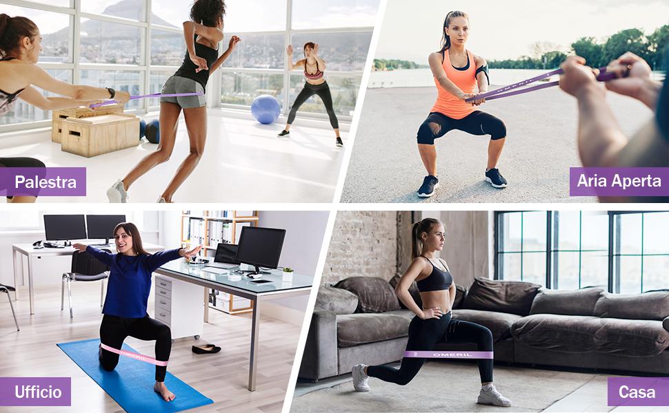 Elastici Fitness (Set di 5), Bande di Resistenza Fitness con 5 Livelli di Resistenza