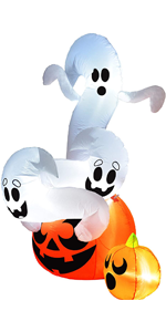 6 FT Tall Twisting Ghosts On A Pumpkin Inflatable