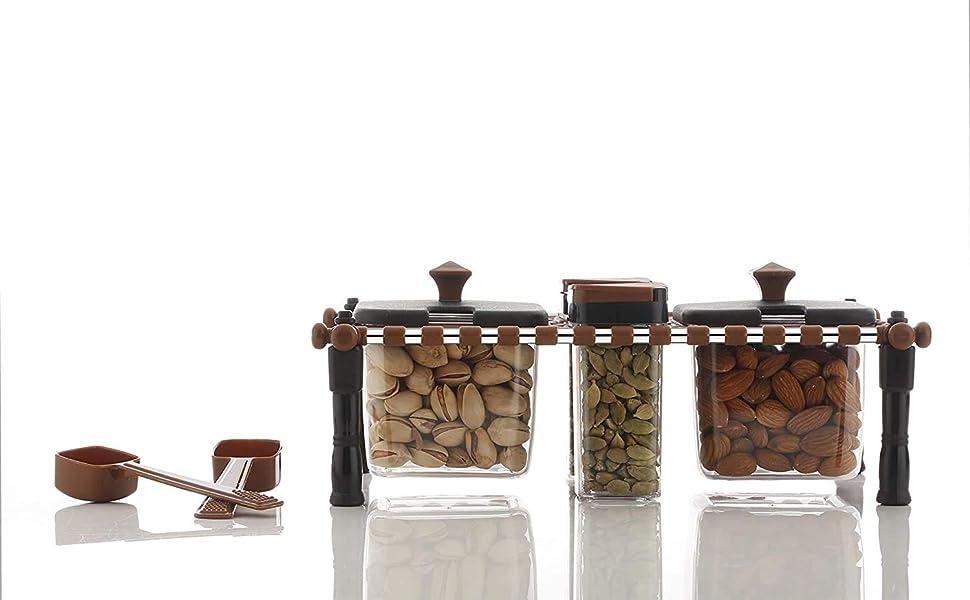 2 in 1 Khatli Style 4 Bottles Multipurpose Spice Rack