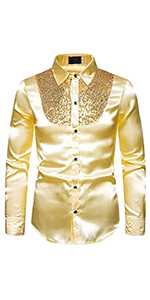 mens casual shirts shiny sequins luxury shirts sliver gold  stage performance floral printed shirt