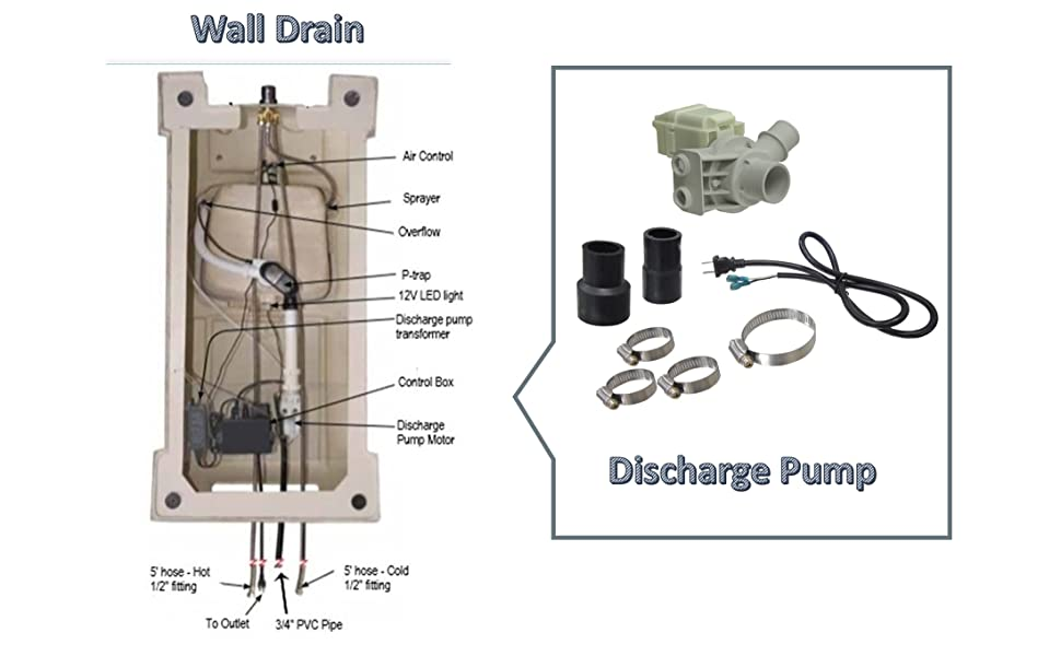 Build-in Discharge Pump for Pedicure Spa Wall Drain Plumbing