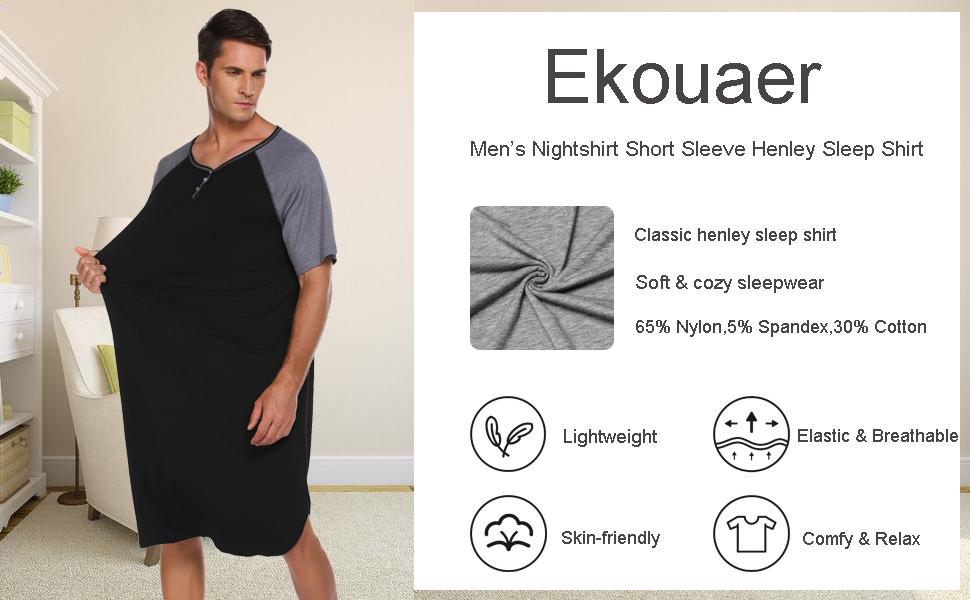 Mens short sleeve pajama shirts classic henley sleepshirts