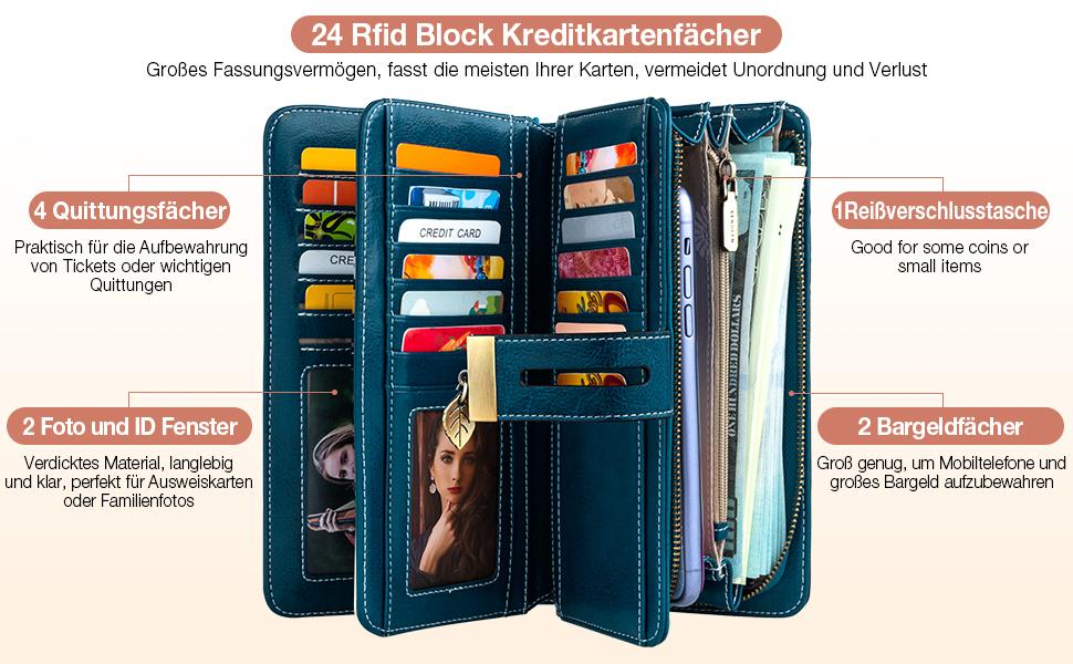 Brieftasche für Frauen mit großer Kapazität