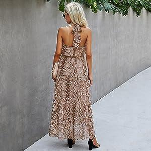 Minipeach maxi dresses for women Khaki Snake Print popular pattern