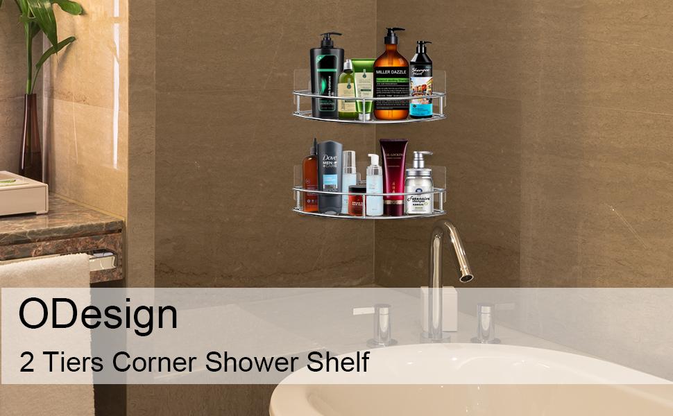 Odesign Adhesive Corner Bathroom Shelf Storage Wall Mounted Shower Caddy Shelf Organizer For Kitchen Toilet Sus 304 Stainless Steel No Drilling 2