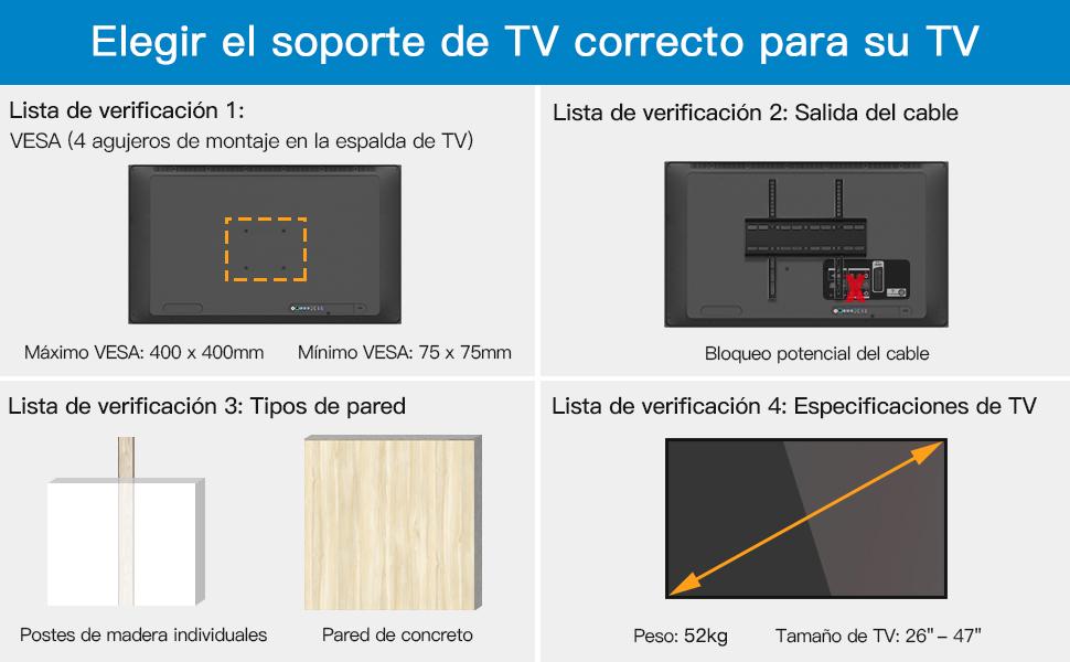 Soporte TV de Pared para la Mayoría de los Televisores LED, LCD, OLED, Plasma Plana y Curvada de 26-47 Pulgadas: Amazon.es: Electrónica