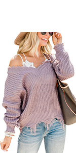 V Neck Ripped Sweaters