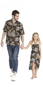 Father Daughter Matching Sets Aloha Shirt Butterfly Dress Hawaiian Style
