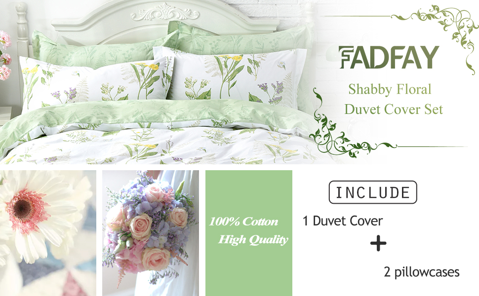 Fadfay Girls Floral Bedding Twin Duvet Cover Set Premium 100 Cotton Green Floral Yellow Daisy Purple Lavender Flowers Bedding Set 3 Piece 1duvet Cover 2pillowcases Kitchen Dining