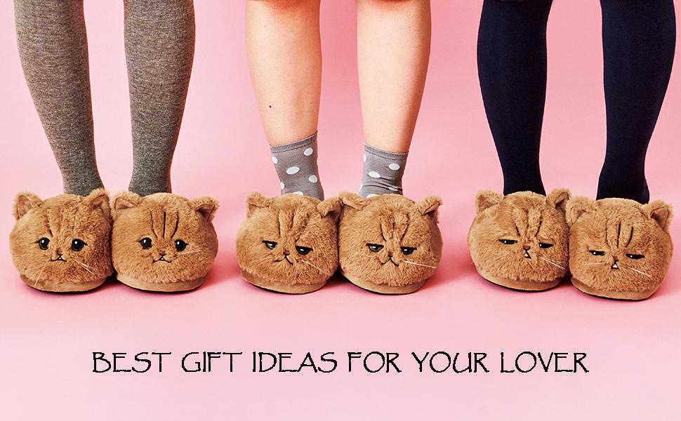 3d cat plush animal slippers